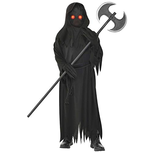 Amscan 192937052921 9904731 - Kinderkostüm Sensenmann, schwarze Robe, Gürtel, Maske und Handschuhe, Grim Reaper, Karneval, Mottoparty, Halloween
