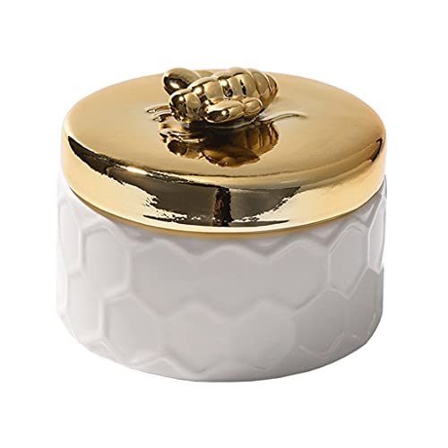 Joyero Caja De Joyería De Cerámica Caja De Joyería Chapada En Oro Titular del Anillo De Talismán con La Caja Organizador De La Joyería Regalo de joyería (Color : Small Jewelry Box)