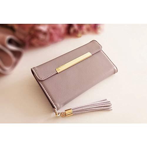 アンティーク風なピンクが絶妙な色合い。三つ折りのタッセル付きでまるでお財布のようなつくりがとってもおしゃれなケースです。女性に嬉しい、カード収納とミラー付き。