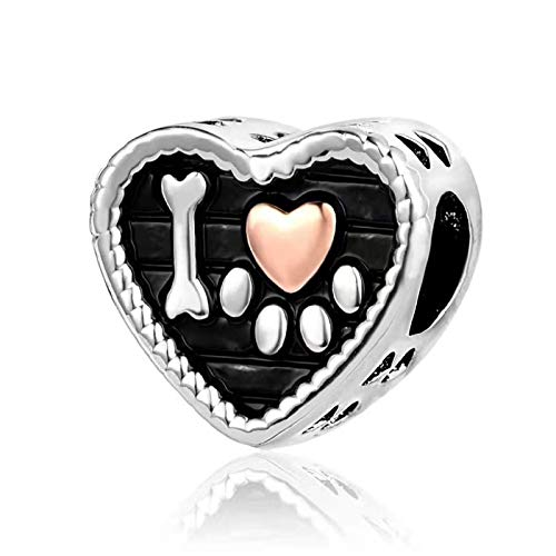 KunBead Dog Mom Mum Bone Paw Prints Love Heart Mother Son Daughter Family Charms Beads