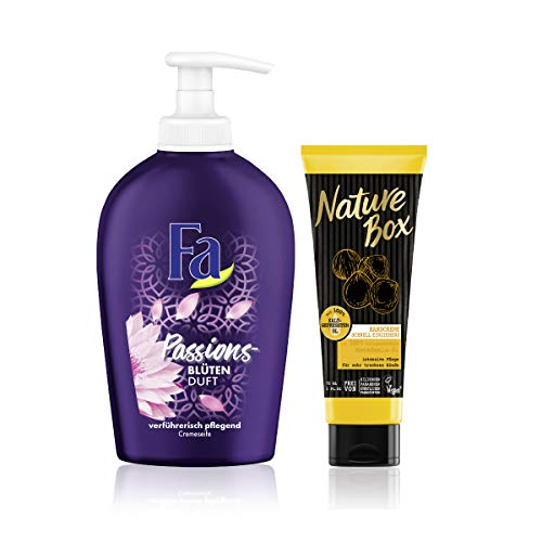 Fa und Nature Box Handpflege-Set, Flüssigseife Mystic Moments (6 x 250 ml) + Nature Box Handcreme Macadamia-Öl (1 x 75 ml)