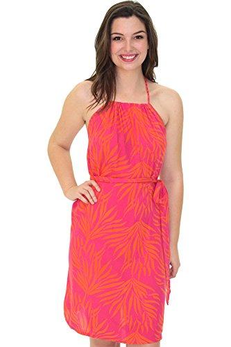 Santiki Arista Batik Print Dress - Pink/Orange Bird of Paradise - Small