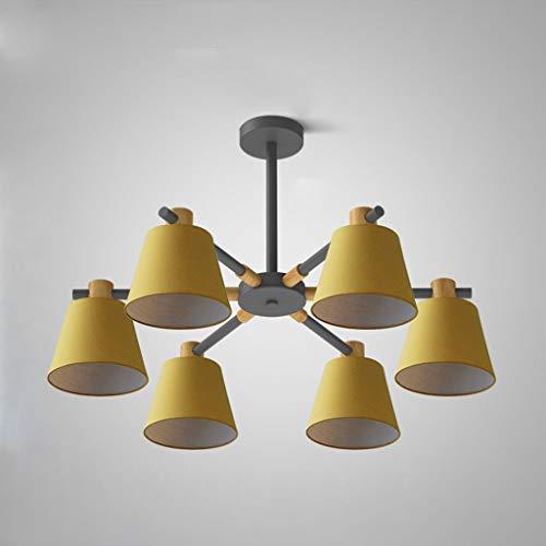 LLT Luz Colgante Útil 6- Cabeza Amarilla Lámpara Lámpara Araña Nórdica Lámpara Colgante