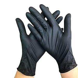 Guanti monouso in nitrile da 100 pezzi Guanti per la pulizia della cucina per la casa neri Guanti da giardino da lavoro universali per mano sinistra e destra-Nero, Cr, L