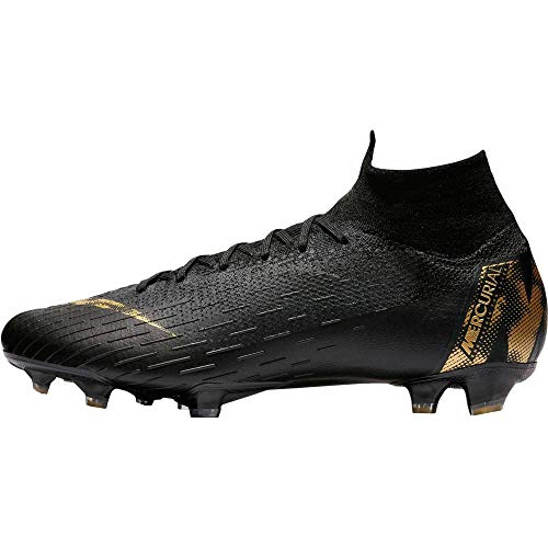 Nike Men's Superfly 6 Elite FG Soccer Cleats (Black/Metallic Vivid Gold) (8.5)