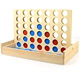 """Wooden 4 in a Row Connect Game, iRunning Foldable Board Line Up 4 Game, Family Picnic Camping Party Travel Classic Board Game Toy for Kids and Adults (Size: 9.5"""" x 6.0"""" x 6.5"""")"""