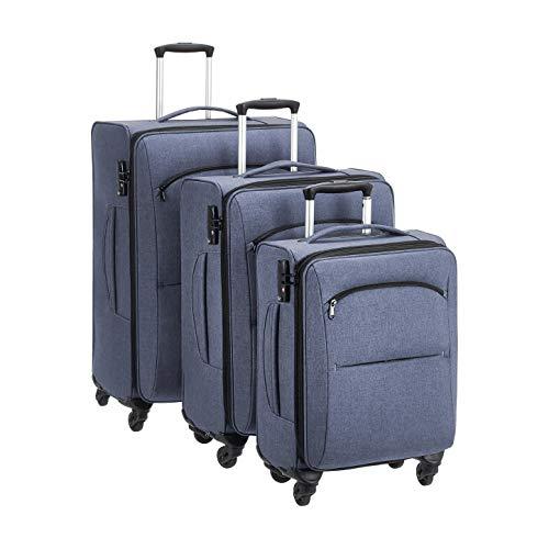 Amazon Basics Urban Softside Spinner Luggage, 3-Piece Set, Blue