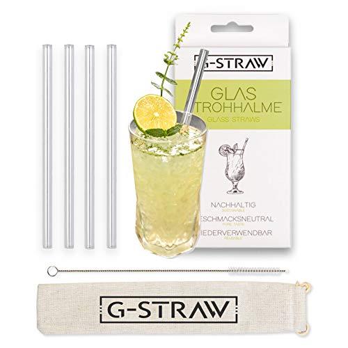 G-Straw Glasstrohhalme transparent mit Reinigungsbürste, Tuch und Aufbewahrungsbeutel - Strohhalm wiederverwendbar aus Glas für Smoothies, Säfte und Cocktails (4X 20cm, gerade)
