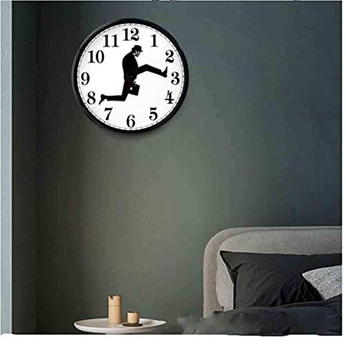 Ministry of Silly Walks Reloj, Reloj de Pared Silly Walk, Reloj silencioso para Caminar, Reloj de Pared novedoso, Divertido Reloj silencioso para Caminar, para Dormitorio, Cocina, Sala de Estar