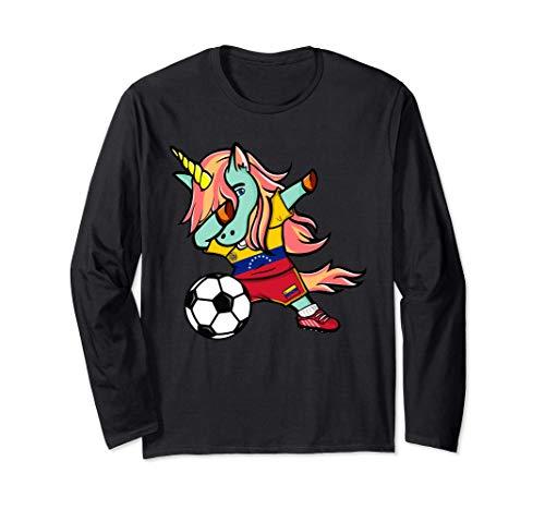 Tamponando Unicorno Venezuela Calcio - Bandiera venezuelana Maglia a Manica
