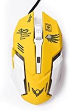 Gaming Mouse, Backlit Optical Game Mice Ergonomic USB Wired with 2400 DPI and 6 Buttons 4 Shooting for Pro Game PC Computer Laptop Desktop Mac (Yellow)