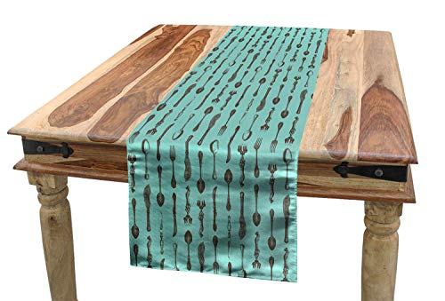Living Farmhouse Table Runner Vintage 13'x 70',Monotone Engraving Style Antique Fork Spoons Meal Tools Tableware Pattern,Non-Slip Burlap Table Setting Decor for Wedding Party Holiday Dinner Home