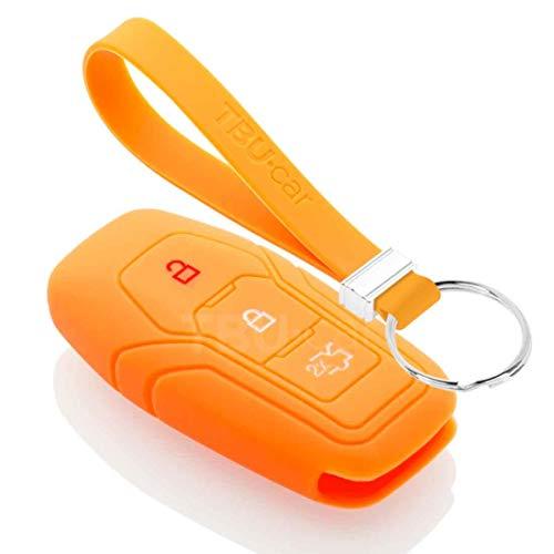 TBU car Funda Carcasa Llave Compatible con Ford - Funda de Silicona - Cover de Llave Coche - Naranja