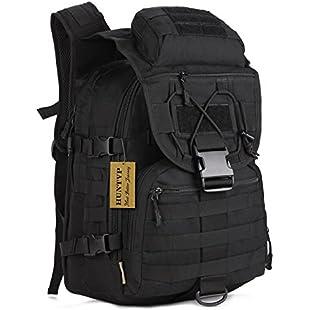 Huntvp Tactical Military Backpack 40L Large Molle Rucksack Waterproof Assault Pack Bag for Hiking Camping Trekking Black:Donald-trump