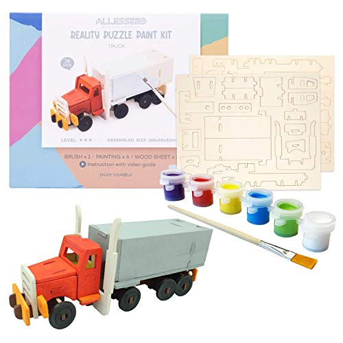 Allessimo - Create + Paint Truck 3D Puzzles for Kids, Girls and Boys Ages 7 8 9 10 11 12 Year Old. Includes Wooden Model Kit, Brush and Paint Supplies. Cool Stem Gift for Kids and Teenage Art Projects
