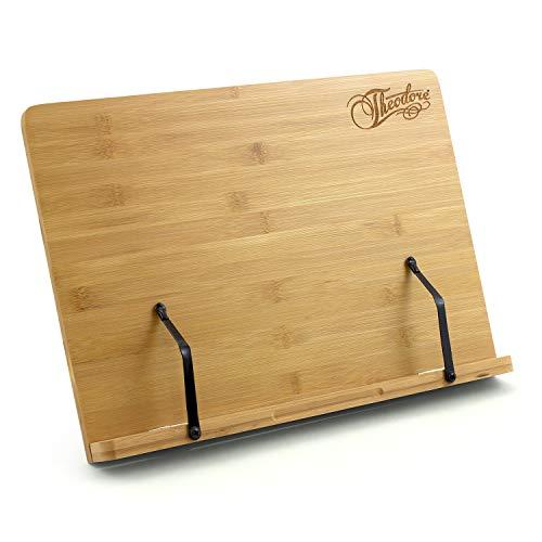 Theodore Bambus Tischplatte Buchstütze Notenständer verstellbar mit Seitenhalterungen, 390 x 280 mm