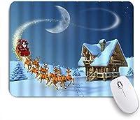 NIESIKKLAマウスパッド 木製の農家のクリスマスサンタトナカイが大雪の松の木に大晦日に来る ゲーミング オフィス最適 高級感 おしゃれ 防水 耐久性が良い 滑り止めゴム底 ゲーミングなど適用 用ノートブックコンピュータマウスマット
