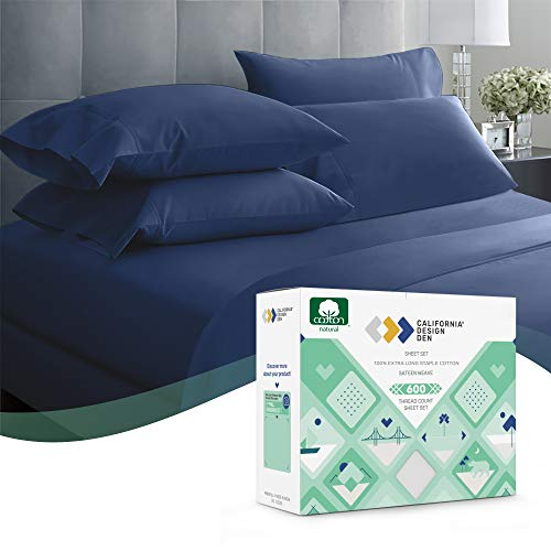 600 Thread Count Best 100% Cotton Sheets – Royal Navy Blue Extra Long-Staple Cotton Queen Sheet for Bed, Fits Mattress 16'' Deep Pocket, Breathable & Silky Sateen Weave 4 Piece Sheets and Pillowcases