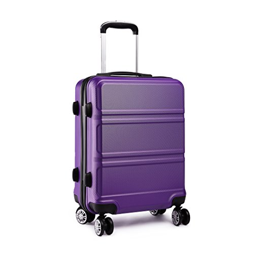 Kono Fashion Hand Luggage Lightweight ABS Hard Shell Trolley Travel Suitcase with 4 Wheels Cabin Carry-on Suitcases (20', Purple)