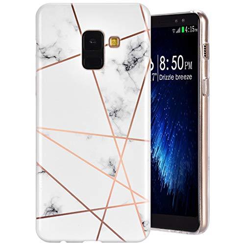 Coque Galaxy A8 2018, MeganStore Marbre Géométrique Créatif Motif Ultra-Mince Souple TPU Silicone Housse Antichoc Anti-Rayures Gel Bumper Etui de Protection pour For Samsung Galaxy A8 2018, Marbre-10