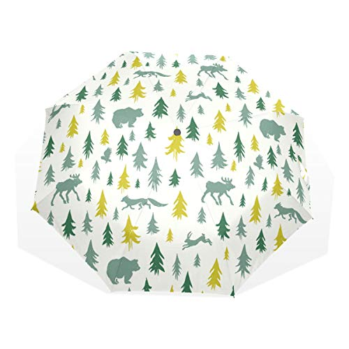 XiangHeFu Anti-UV-paraplu winterbos Fox Bear Owl 3 Folds lichtgewicht