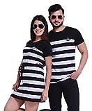 COUPLESTUFF.IN Men's and Women's Striped Knee-Length T-Shirt Dress Combo for Couple Black::White...