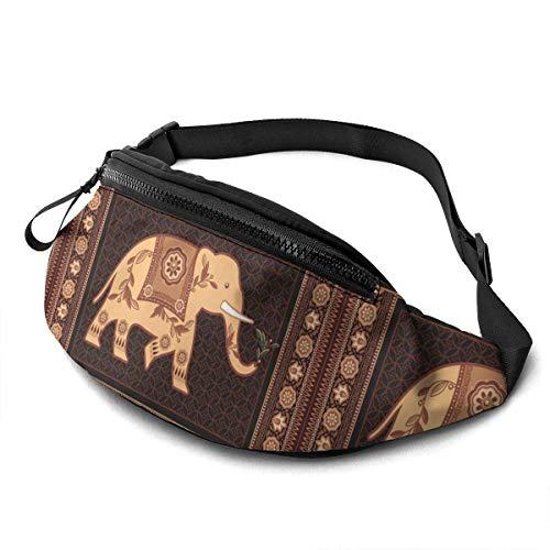 FengLiuAiShuaiGe Mochilas Decoradas Riñonera de Elefante Indio Bolsa de Cintura de Moda,