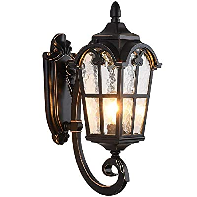"""LONEDRUID Outdoor Wall Light Fixtures Black Roman 17.71""""H Exterior Wall Lantern Waterproof Sconce Porch Lights Wall Mount with Water Glass Shade for House, UL Listed"""