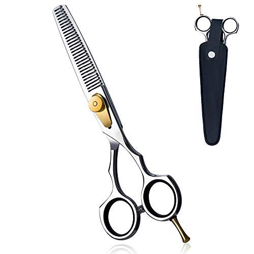 "Professional 6"" Hair Thinning Scissors Cutting Teeth Shears, Barber Hair Cutting Scissors- Japanese 440C Stainless Steel- with Case for Women and Men"