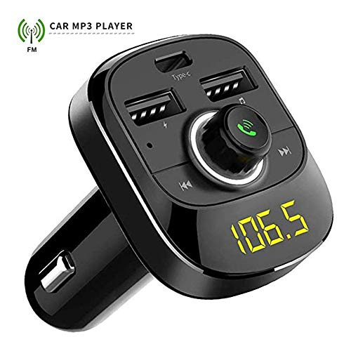 WAXGHH Wireless FM Transmitter Radio Receiver Adapter Car Kit with Dual USB Charging Ports,Hands Free Calling, Music Player Support TF/Type C,Bluetooth FM Transmitter for Car