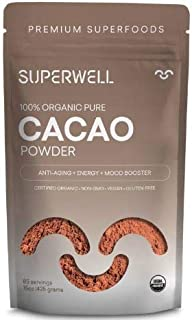SUPERWELL Organic Cacao Powder - Cocoa Powder (15 Oz / 85 Servings) | Sugar Free | All Natural | Low Carb - Keto Chocolate | Premium Superfood | Anti-Aging