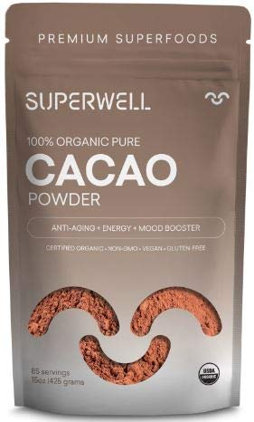 SUPERWELL Organic Cacao Powder - Cocoa Powder (15 Oz / 85 Servings) | Sugar Free | All Natural | Low Carb - Keto Chocolate | Cacao Premium Superfood | Anti-Aging