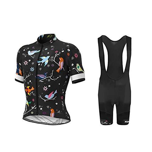Uglyfrog Bike Wear Radtrikot Damen Kurzarm Fahrradbekleidung Set Outdoor Sports Radfahren Jersey + Radfahren Latzhose 20 DShorts im Sommer