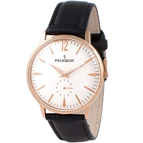 Peugeot Men's Vintage Rose Gold Retro Business Watch, Analog with Remote Sweep...