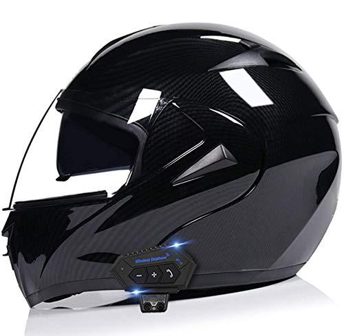 Casco de Moto Bluetooth Integrado Flip Up Casco Moto Integral Modular Casco Certificación ECE con Doble Visera Casco Motocross para Hombre Y Mujer Adulto Motocicleta Casco Scooter E,XL