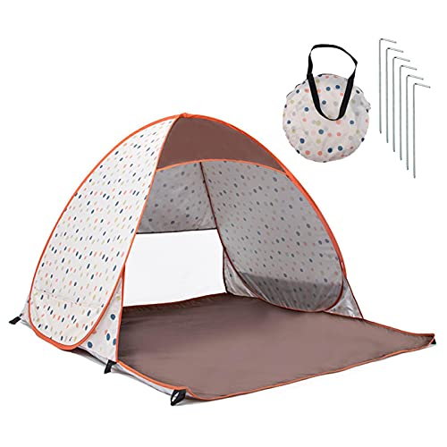 Beach Tent Sun Shade Shelter for 2-3 Person with UV Protection - Extended Floor - Lightweight, Portable, Breathable, Waterproof, Windproof, Collapsible - Best Gifts for Holidays(Ocean Blue/Orange)