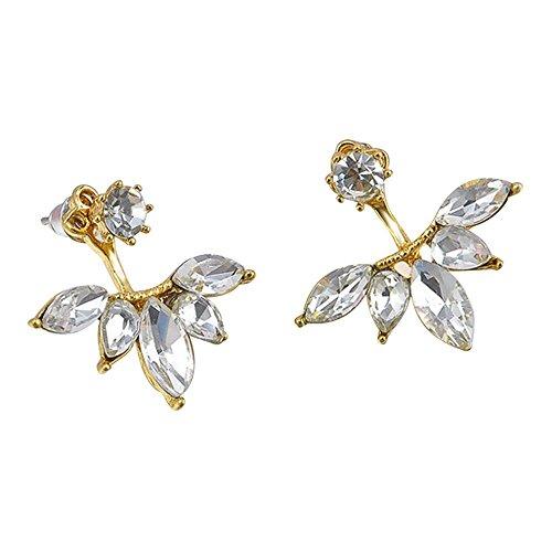 OverDose Pendiente Trepador Moda Aleación Cristal Rhinestone Oreja Pendientes Flor Joyas Regalo 1 Par (oro)
