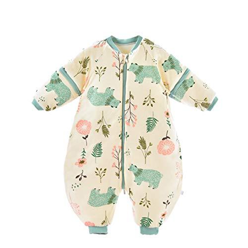 Bebé Saco de Dormir para Niños Niñas Manga Separable con Piernas Algodón Pijama Cremallera Mamelucos Mono Invierno Traje de dormir 1.5-3 años,amarillo
