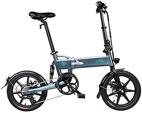 RDJM Ebikes Fast Electric Bikes for Adults 16-inch Tires Folding Electric Bike 250W Motor 6 Speeds Shift Electric Bike for Adults City Commuting (Color : Grey)