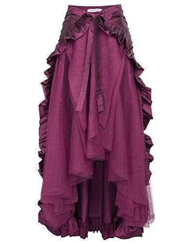 Damen Asymmetrisch Saum Viktorianisch Steampunk Rock M Lila