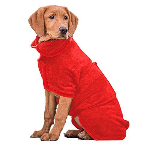 PETTOM Hundebademantel Mikrofaser Badetuch Hund Bademantel für Kleine Mittlere und Große Hunde (XL, Rot-Upgrade)
