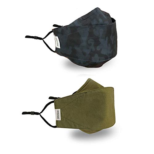 Face Mask | Adult 2-Pack | Anti-Microbial, Reusable, Cloth, Adjustable, Breathable, 2-Layer Poly-Cotton Outer and 100% Cotton Inner | The Revival Mask by coRevival (Camo, Green)