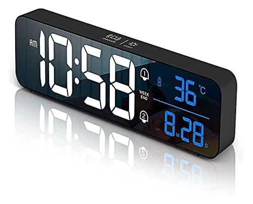 TXXM Reloj Despertador para la acidez del Dormitorio 10.4' DIRIGIÓ Mirror Reloj de Noche Reloj de Alarma eléctrica Recargable con Temperatura y Fecha, 40 música, Alarma Dual, Snooze, 5 Brillo regulab