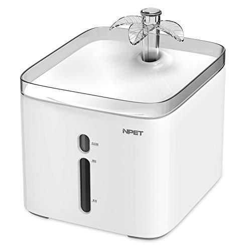 NPET Automatischer Wasserbrunnen für Katzen, Hunde, Wasserspender für Haustiere, Ersatzfilter, 2,5 l/1,8 l, elektrisch und sehr leise, WF020