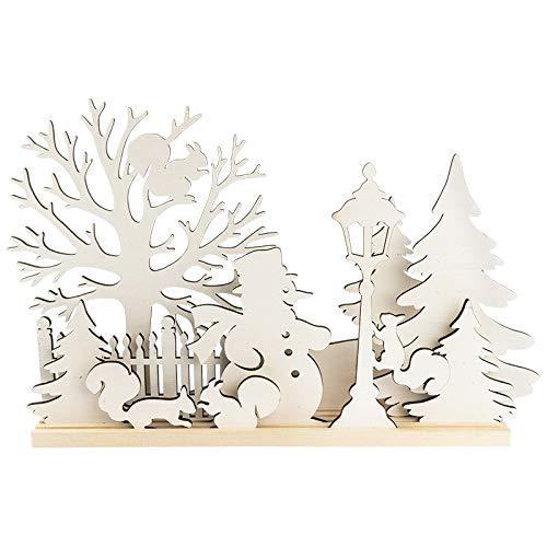 3-D Landschaft zum Stecken, Schneemann & Eichhörnchen, Podest & versch. Holzelemente, 11-teilig