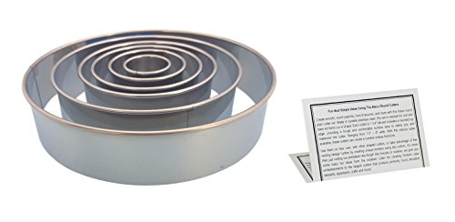 "Ateco Round Pastry Cutter Set, Stainless Steel 8"", 6"", 4.5"", 3.5"", 2.5"", 1.5 In. Kitchen Tools With Information Card"