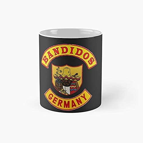 N\A Bandidos Alemania Parte Superior e Inferior del Eje de balancín con el Frente Completo de la Chaqueta de Patch - Mascarillas Etc Taza clásica   Mejor Regalo Divertido Taza de café 11 onzas
