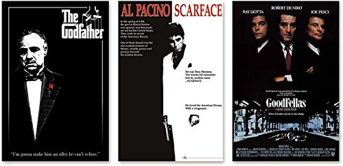 Close Up Gangster Movies Poster 3er-Set, Der Pate The Godfather, Al Pacino Scarface, Goodfellas - 61 x 91,5 cm
