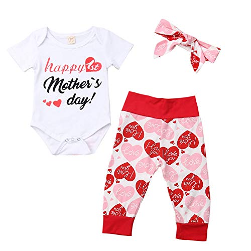 BULINGNA 3Pcs/Set Newborn Infant Baby Girl Mother's Day Outfit Romper Tops+Heart Pants+Headband Summer…