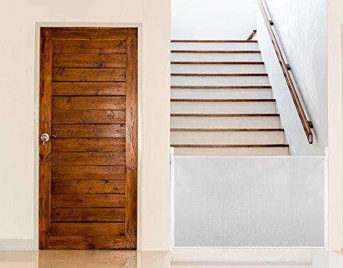 UPP Rejilla extensible y universal hasta 140 cm para rejilla de escaleras, rejilla de protección para puertas, niños, perros, estor de protección o para escaleras, pared separadora, Blanco